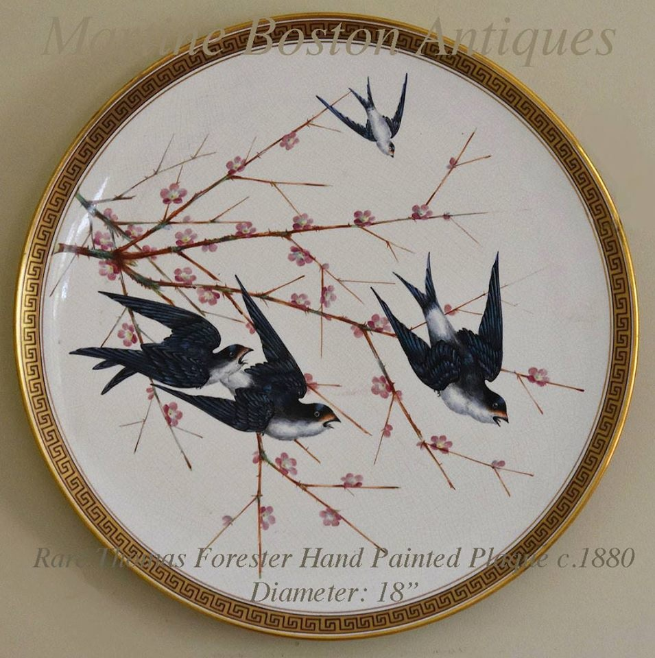 18ins diam Plate handpainted with bluebirds