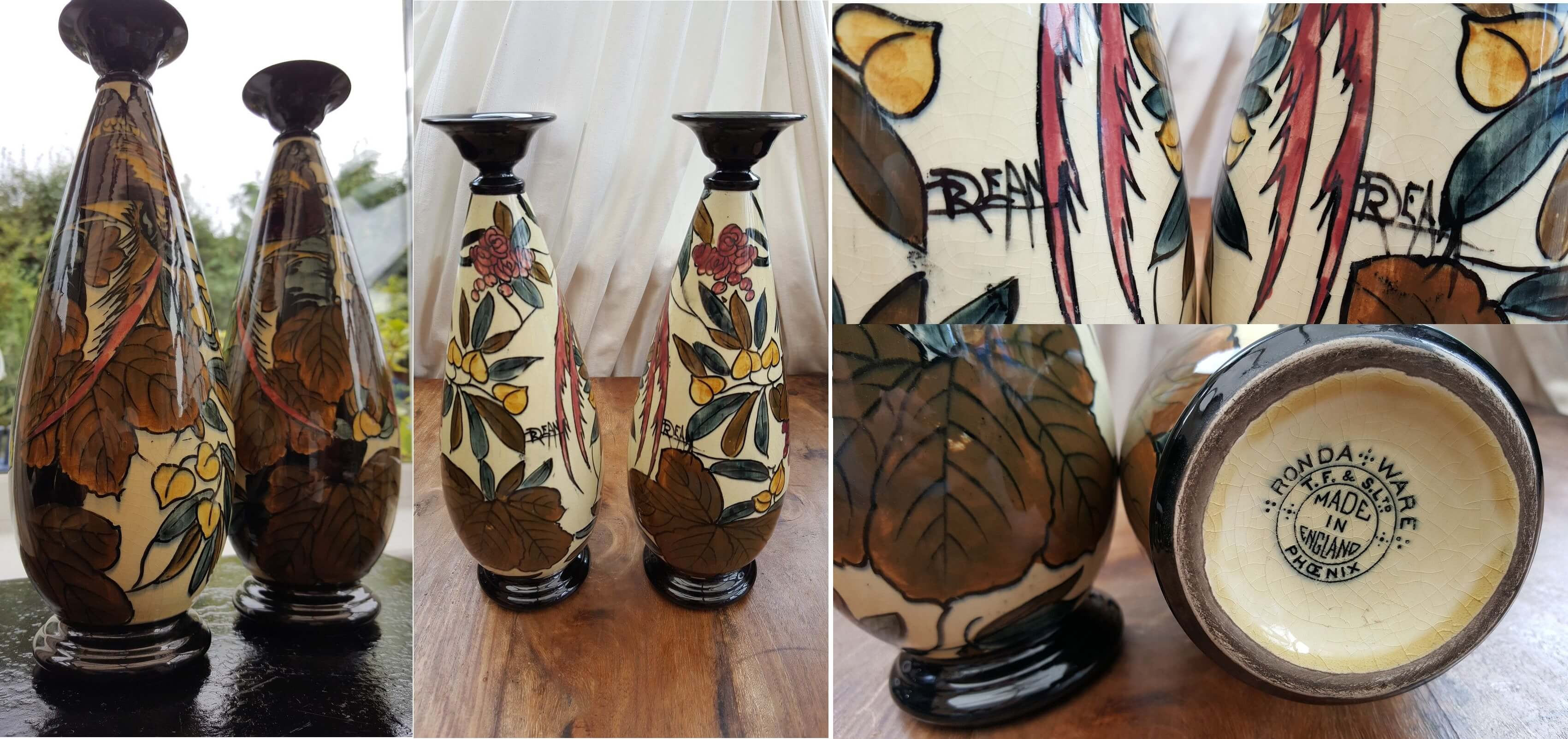 Pair of Roger Dean Handpainted Vases 32cms Tall