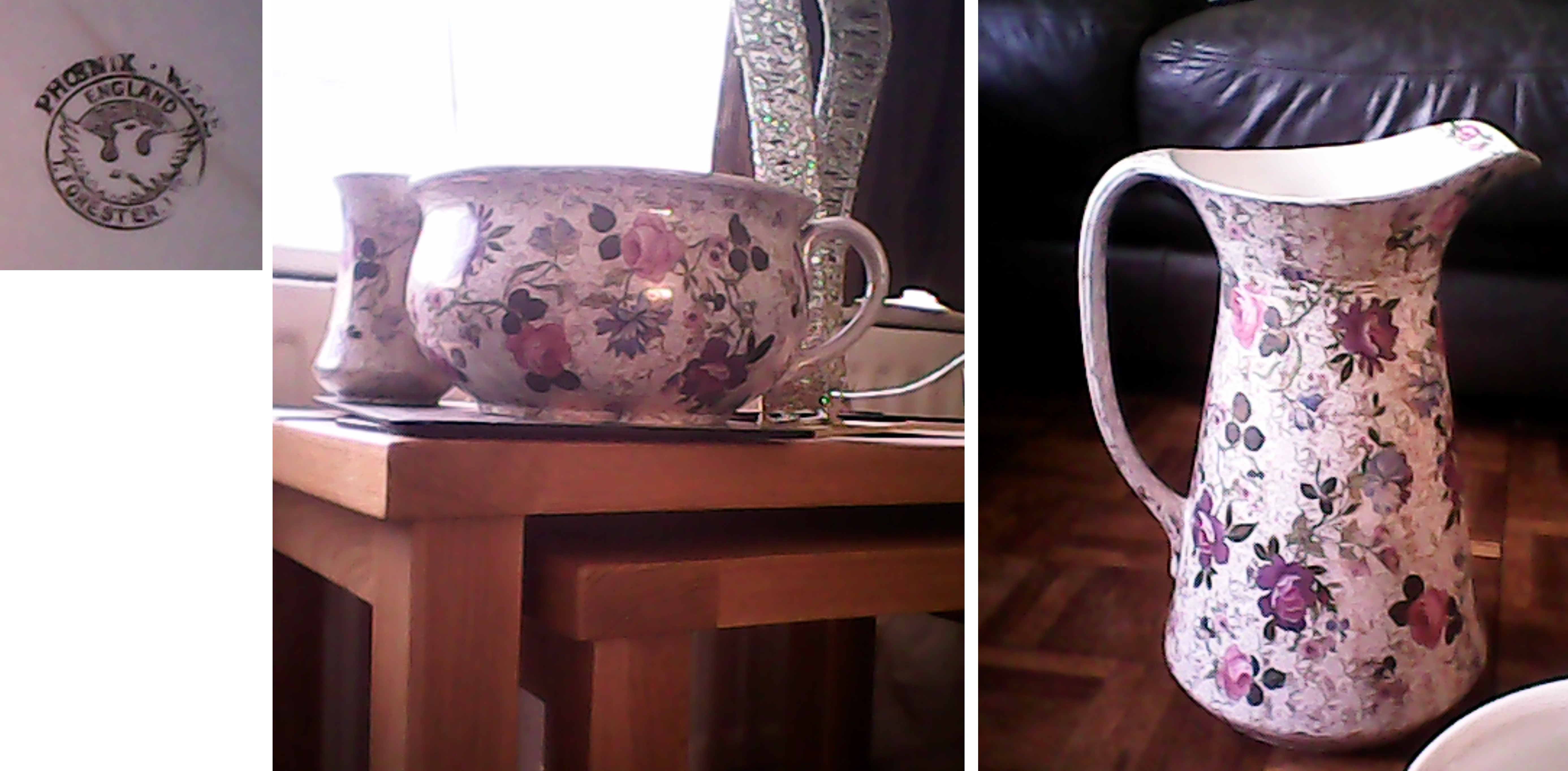 Images sent by Heather Schofield. Pieces made between 1891 and 1920. Bowl Diam 16.5ins by 4.5ins Deep. Potty 9ins Diam by 5ins Deep. Jug 13ins Tall. Toothbrush holder is 3ins Diam 5ins Tall